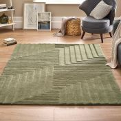 Linear Olive Geometric Wool Rug by Origins