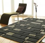 Unique Fortress Stripe Design Wool Rug by Prestige