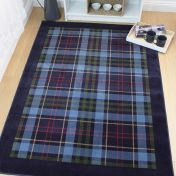 Galloway Blue Chequered Rug by Flair Rugs