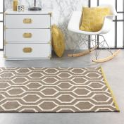 Geo Reversible Charcoal White Wool Rug by Origins