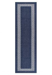 Greek Key Flatweave Bordered Blue Runner by Oriental Weavers
