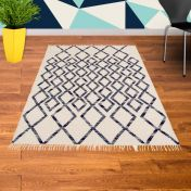 Hackney Kelim Diamond Blue Rug By Asiatic