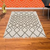 Hackney Kelim Diamond Taupe Rug By Asiatic