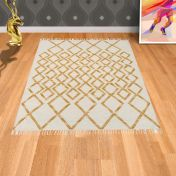 Hackney Kelim Diamond Yellow Rug By Asiatic