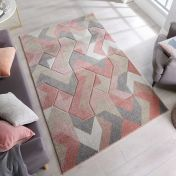 Hand Carved Aurora Dusky Pink Rug by Flair Rugs