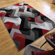 Hand Carved Aurora Grey Red Modern Rug by Flair Rugs