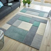 Hand Carved Cosmos Mint Grey Cream Modern Rug by Flair Rugs