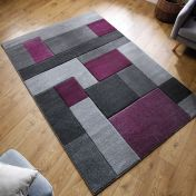 Hand Carved Cosmos Purple Grey Modern Rug by Flair Rugs