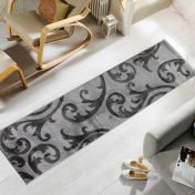 Hand Carved Elude Grey Modern Runner by Flair Rugs