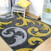 Hand Carved Elude Ochre Modern Rug by Flair Rugs