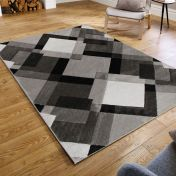 Hand Carved Nimbus Grey Modern Rug by Flair Rugs