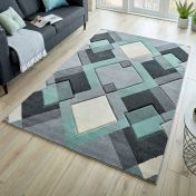 Hand Carved Nimbus Mint Grey Cream Rug by Flair Rugs