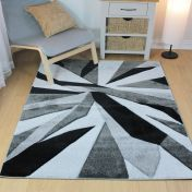Hand Carved Shatter Black Grey Modern Rug by Flair Rugs