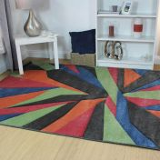 Hand Carved Shatter Multi Modern Rug by Flair Rugs