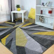 Hand Carved Shatter Ochre Modern Rug by Flair Rugs