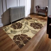 Hand Carved Vine Beige Brown Modern Rug By Flair Rugs