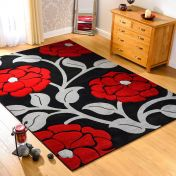 Hand Carved Vine Black Red Modern Rug By Flair Rugs