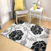 Hand Carved vine Grey Black Modern Rug By Flair Rugs