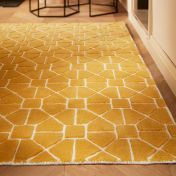 Harmony Ochre Geometric Wool Rug by Origins
