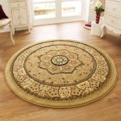 Heritage 4400 Beige Circle Traditional Rug By Think Rugs