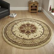 Heritage 4400 Cream Red Circle Traditional Rug By Think Rugs