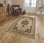 Heritage 4400 Cream Red Traditional Rug By Think Rugs