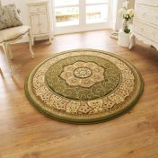 Heritage 4400 Green Circle Traditional Rug By Think Rugs