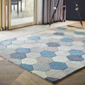 Hexagon Pastels Geometric Wool Rug by Origins