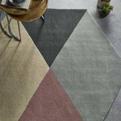 Hexagon Shaped Pink Grey Geometric Wool Rug by Origins