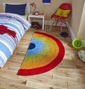 Hong Kong HK6083 Kids Rainbow Multicoloured Rug By Think Rugs
