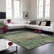 Holborn Green Striped Contemporary Rug by Asiatic