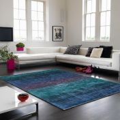 Holborn Indigo Striped Contemporary Rug by Asiatic