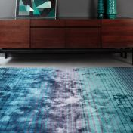 Holborn Indigo Striped Contemporary Rug by Asiatic