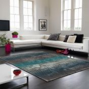 Holborn Turquoise Striped Contemporary Rug by Asiatic