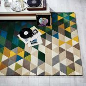Illusion Prism Green Multi Wool Rug by Flair Rugs
