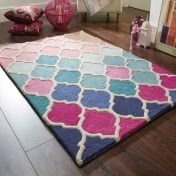 Illusion Rosella Pink Blue Wool Rug by Flair Rugs