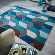 Infinite Scope Teal Geometric Rug by Flair Rugs
