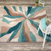 Infinite Splinter Teal Abstract Circle Rug by Flair Rugs