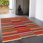 Jacob Red Multi Striped Rug By Asiatic