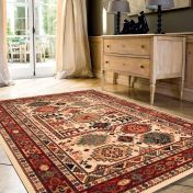 Kashqai 4306 100 Beige Red Traditional Wool Rug By Mastercraft