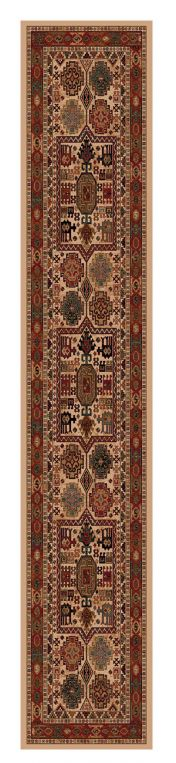 Kashqai 4306 100 Beige Red Traditional Wool Runner By Mastercraft
