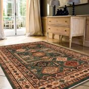 Kashqai 4306 400 Green Traditional Wool Rug By Mastercraft