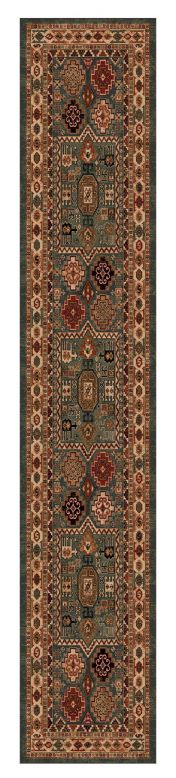 Kashqai 4306 400 Green Traditional Wool Runner By Mastercraft