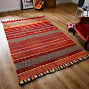 Kelim Stripe Red Flatweave Rug by Oriental Weavers