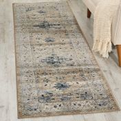 Malta MAI02 Beige Blue Hall Runner by Kathy Ireland