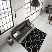 Lina 100 Ivory Schwarz Modern Runner by Unique Rugs