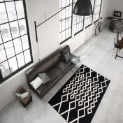 Lina 400 Schwarz Ivory Modern Runner by Unique Rugs