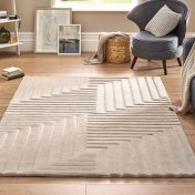 Linear Pumice Stone Grey Geometric Wool Rug by Origins