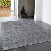 Linley Charcoal Plain Wool Rug by Asiatic