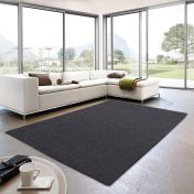 Livorno 042 Plain Dark Grey Rug By Unique Rugs
